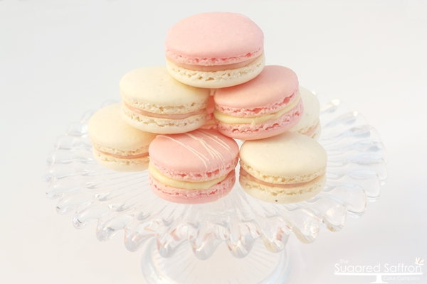 Pink and white macarons